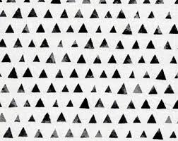 black and white fabric pattern triangle fabric etsy