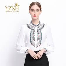 pretty blouses shirts autumn embroidery sleeve slim blouses