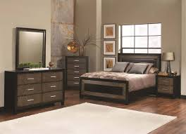 landon 6 piece bedroom set in two tone brown and black finish by