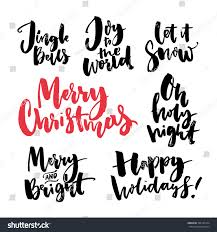 merry text seasonal greetings brush stock vector