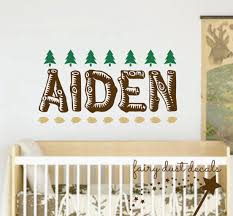 name wall decal vinyl boy name nursery wall decal woodland