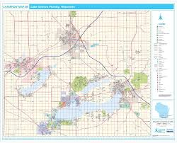 Green Lake Wisconsin Map by Champion Lake Geneva Wall Map