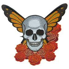 embroidered butterfly skull 7 x 8 inch shop biker patches