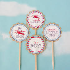 airplane baby shower vintage airplane baby shower cupcake toppers 24 pc