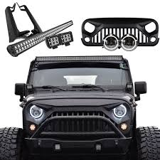 led light bar bundle jeep wrangler mega bundle light bar pods halo headlights