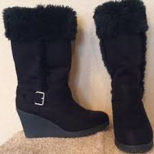 womens wedge boots size 9 75 eagle by payless boots black fur top wedge heel