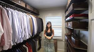 how to organize a men u0027s walk in closet organizedliving com youtube
