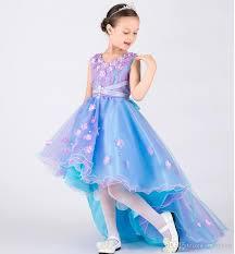 cheap purple and blue kids dresses long front short back lace