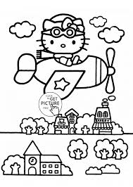 hello kitty is pilot coloring page for kids for girls coloring