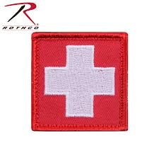 Flag White With Red Cross Rothco White Cross Red Morale Patch