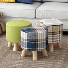 Cloth Ottomans Wooden Low Cloth Sofa Stool Change Shoe Ottoman