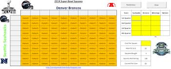 Football Squares Template Excel 2014 Bowl Squares Spreadsheet Excel