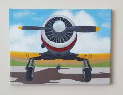 Tiny Planes Clouds Airplane Acrylic Painting Propeller Plane Painting