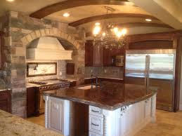 Tuscan Kitchen Island Kitchen Design Ideas With Stone Wall Outofhome