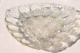 deviled egg serving dish vintage pressed glass egg plate triangular shape serving tray for