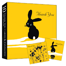 boxed set of 10 thank you notelets bunny rabbit bees and