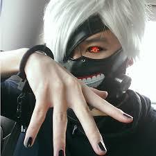 tokyo ghoul kaneki ken cosplay prop zipper cool masks short gray