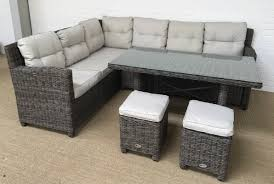 Grey Rattan Outdoor Furniture by Milan Grey Corner Sofa Dining Table Stool Set Oakita Intended For