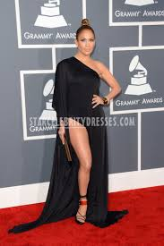 jennifer lopez one shoulder long sleeve black evening dress