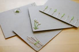 embroidered note cards for the to make flax twine