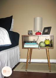 furniture mid century nightstand with brown wooden standing lamp