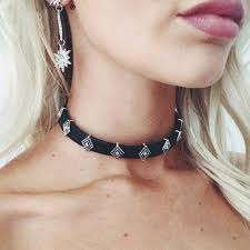 leather choker chain necklace images Boho charm pu leather collar choker silver pendant chain necklace jpg