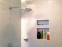 bathroom pretty white subway tile shower niche barron custom