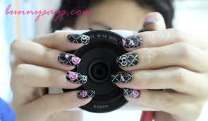 bunny says hello kitty nail stickers black u0026 rose design