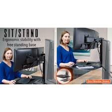 Sit Stand Desk Converter by Winston E Electric Triple Monitor Mounts Sit Stand Desk Stand Steady