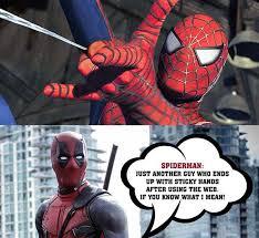 Best Spiderman Memes - funny deadpool described spider man in the best way deadpool