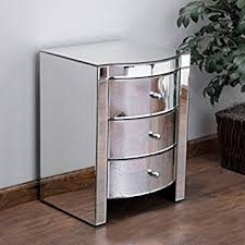 Nightstands With Mirrored Drawers Amazon Com Jacinda Mirrored Accent 3 Drawer Nightstand Kitchen