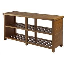 Shoe Storage Bench Winsome Keystone Shoe Rack Bench In Teak Finish Walmart Com