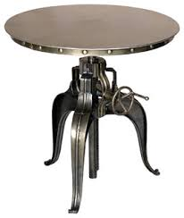 Industrial Bistro Table Crank Top Metal Bistro Table Industrial Indoor Pub And