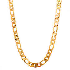 s jewelry figaro chain 24 18k solid yellow gold filled necklace chain men s