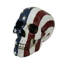 stars and stripes flag skull statue 7 inch skull statue gothic