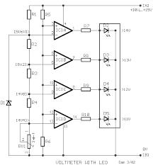 car battery voltmeter with led indicator circuit diagram