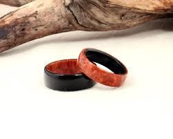 Wooden Wedding Rings by Custom Set Amboyna Burl And Ebony Wooden Wedding Rings