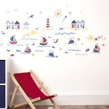 chambre bébé stickers design interieur stickers muraux voiliers vagues plage décoration
