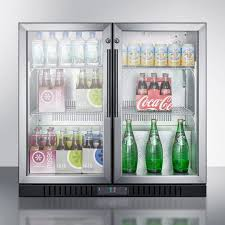 refrigerators with glass doors summit scr7012dcss 35 inch commercial beverage center with 7 4 cu