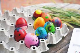fancy easter eggs colorful fancy easter eggs in a tray stock photo image of
