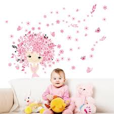 wall stickers for kids picture more detailed picture about colorful flower flower fairy pink cute baby girl mermaid butterfly home decals wall sticker for kids