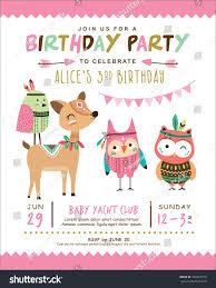 Birth Invitation Cards Kids Birthday Invitation Card Cute Cartoon Stock Vector 450467770