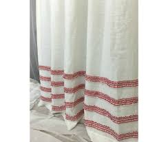 Beige Linen Curtains White Shower Curtain With Red Ticking Stripe Rows Of Ruffles