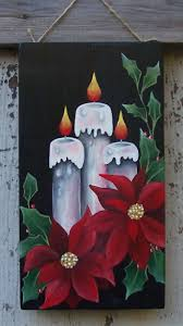 christmas candles poinsettias painted on plywood with acrylic