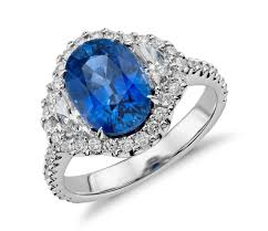 engagement rings with blue stones blue sapphire and halo three ring in 18k white gold