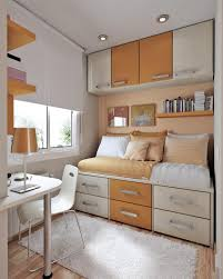 comfortable room with best small bedroom ideas myohomes brown white themed colour on best small bedroom with storage close window under hanging bookshelf