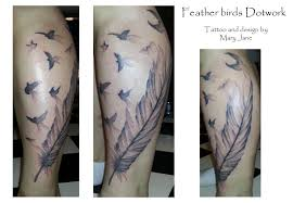 feather birds mary jane tattoo dotwork artist artlien gypsy