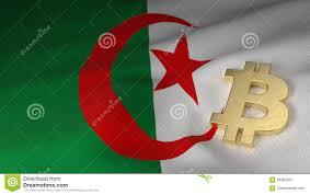 Algerian Flag Bitcoin Currency Symbol On Flag Of Algeria Stock Illustration
