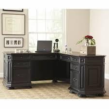 innovative l shaped black computer desk riverside furniture allegro l shaped computer desk in black 44728