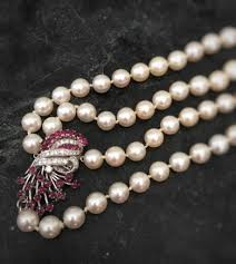 pearl ruby necklace images Art deco cultured pearl ruby and diamond double strand necklace jpg